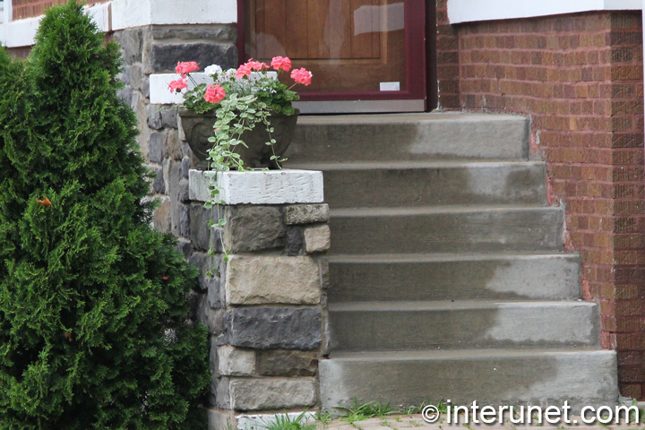 Combination Of Concrete Steps With Stone Balustrade