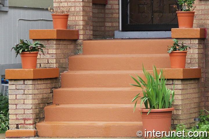 Concrete Steps To Front Porch Painted