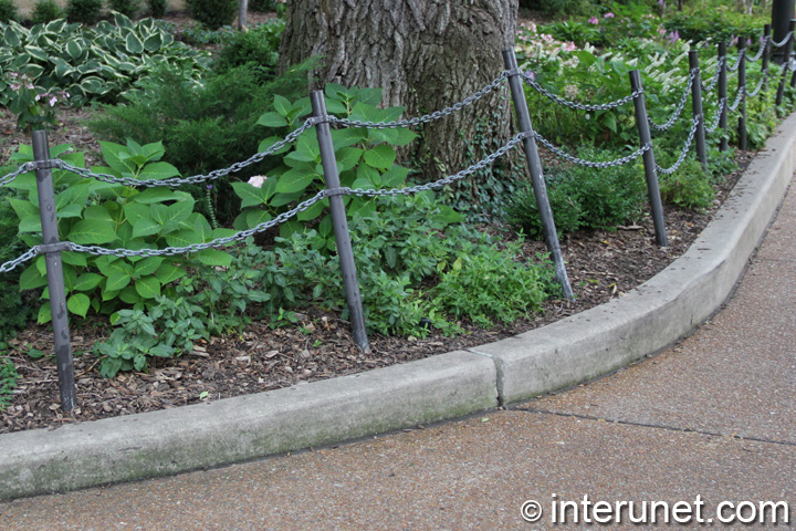 double chain fence on metal posts