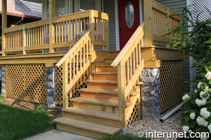 Front Porch With Wood Railing Interunet