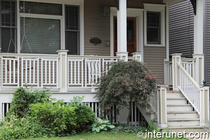 Porch With Wood Railing