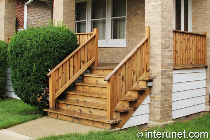 Simple wood porch with stairs interunet for Wooden front porch designs