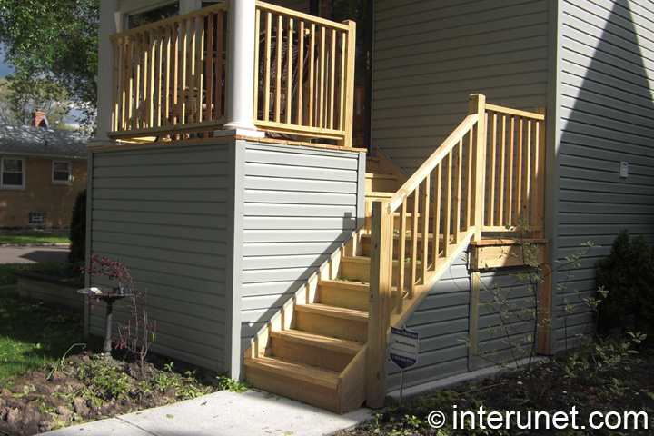 Simple Wood Stairs To Small Front Porch