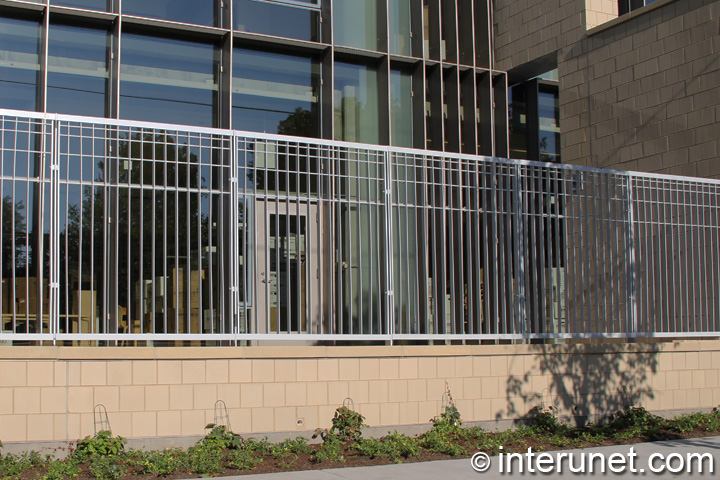 steel fence painted in silver metallic color