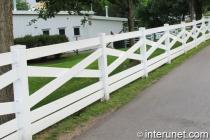 white vinyl farm fence