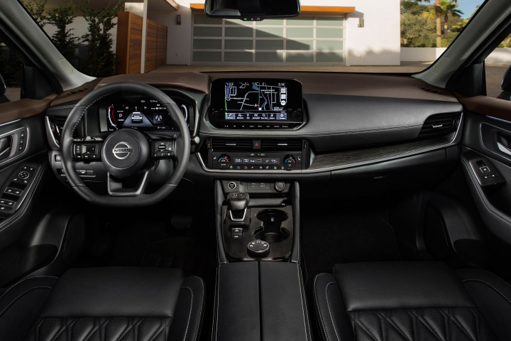 2021 Nissan Rogue black leather interior