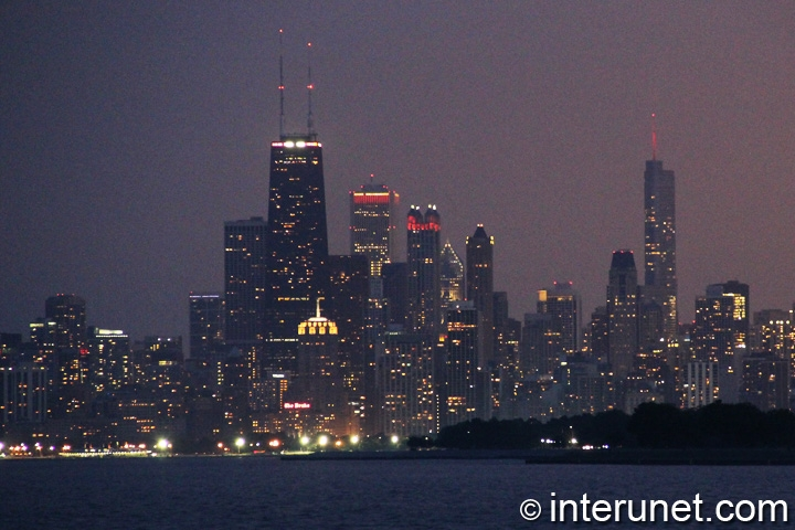 Night view on Chicago from Montrose harbor