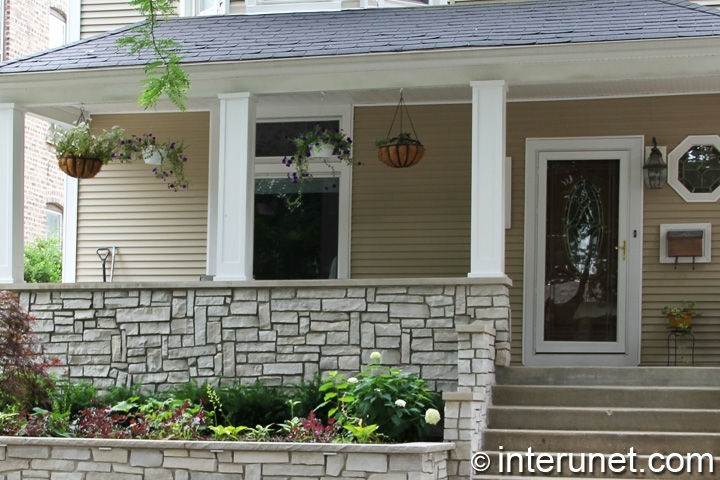 Stone Front Porch Decorated