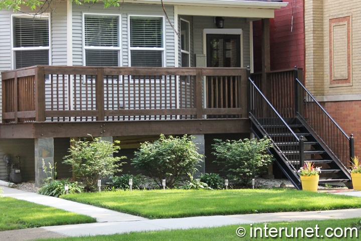 Wood Front Porch With Steel Stairs