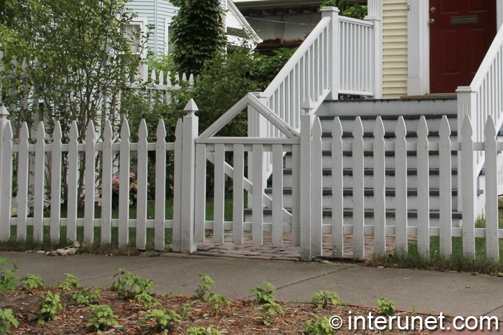 Wood Picket Fence Painted White