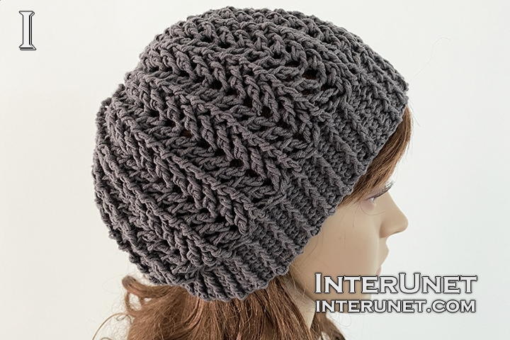 crochet lace slouchy hat pattern for beginners