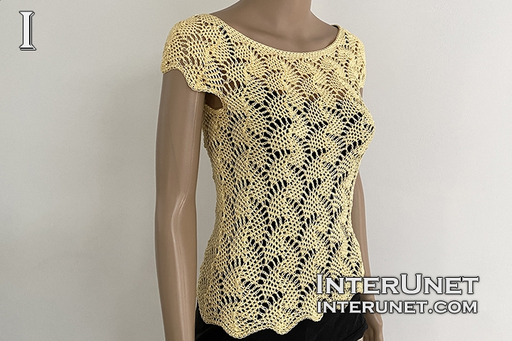 crochet summer top lace leaf pattern