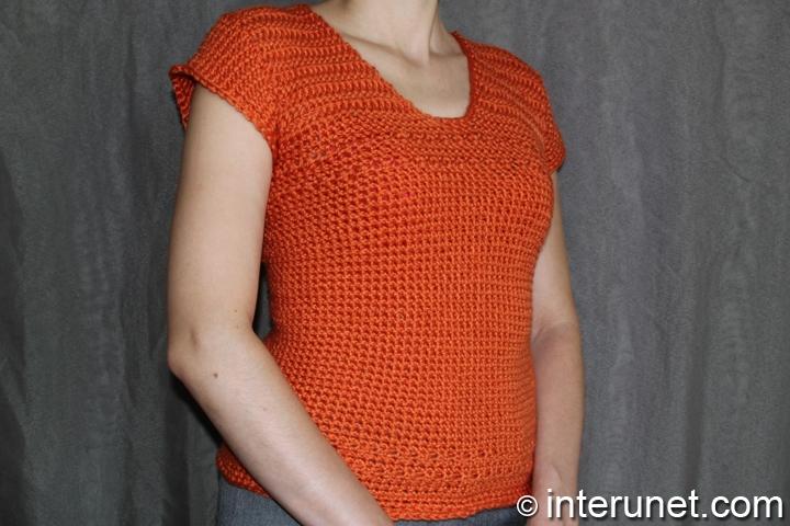 women's short-sleeve sweater crochet pattern