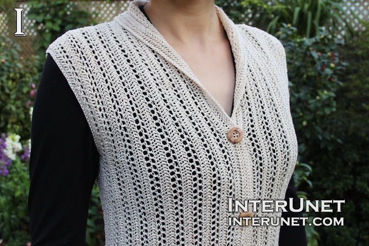 Crochet Collar Button Up Vest Interunet
