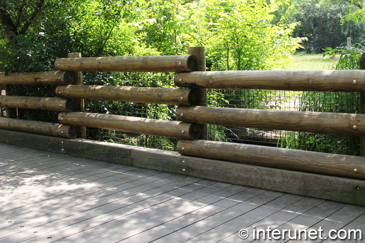 Log Pole Fence ~ Three horizontal logs bridge fence interunet