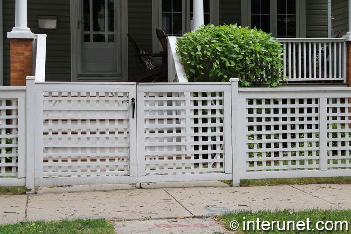 Wood Fence With Lattice Gates