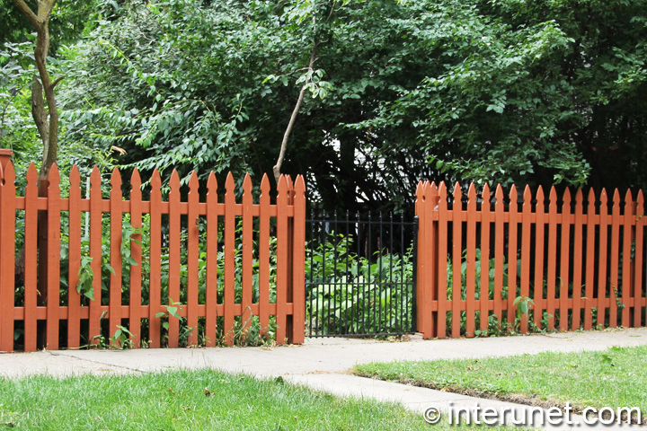 wood picket fence gate. Wood-picket-fence-with-metal-gate Wood Picket Fence Gate