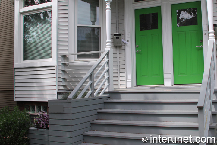 Wood Porch And Stairs Painted Grey Interunet