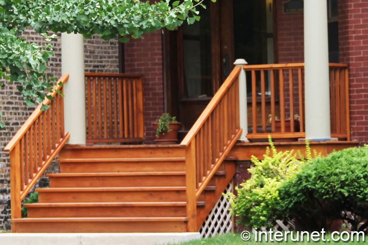 Wood Porch And Stairs Stained