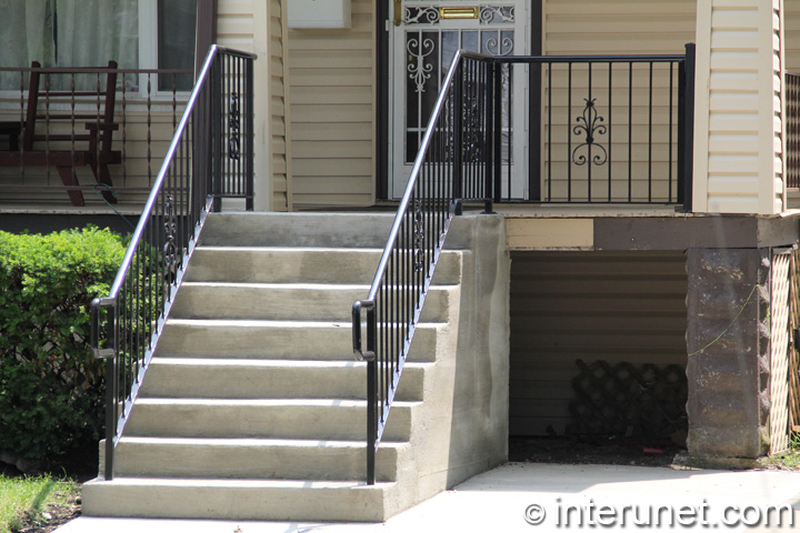 Beautiful Wood Porch Concrete Steps Steel Railing Combination