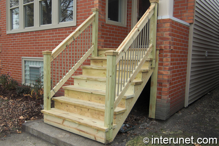 gallery for wood front porch steps