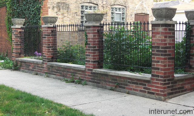 Brick Decorative Columns Metal Fence
