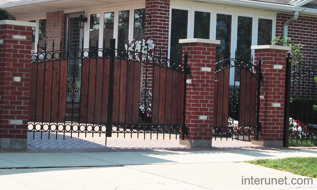Brick Steel Wood Fence Gates