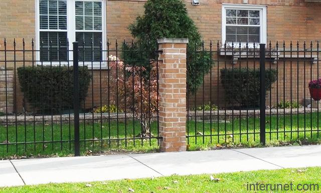 Steel Fence With Metal Posts Brick Column Picture Interunet