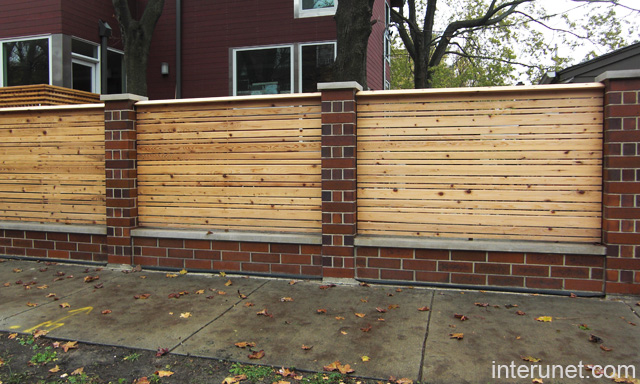 brick and wood fence 2